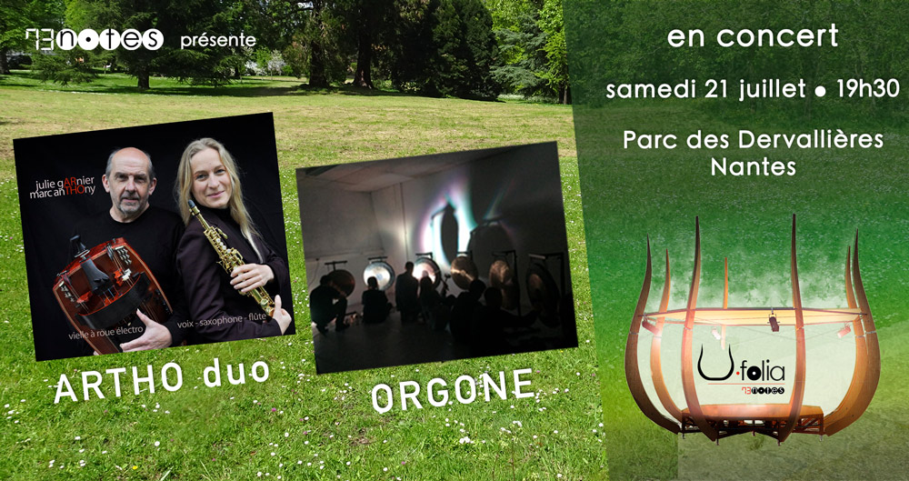 ARTHO duo (vielle, flûte, saxo et voix) et Orgone (percussions) en concert à Nantes